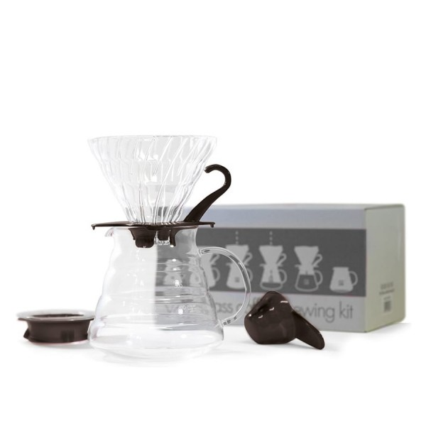 Hario V60 Simply Glass Coffee Brewing Kit (Black/Clear)