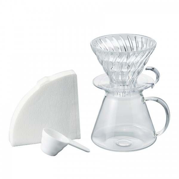 Hario V60 Simply Glass Coffee Brewing Kit (Clear)