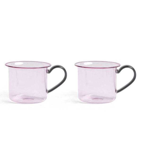 HAY Borosilicate Cup Set of 2 (Pink/Grey Handle)
