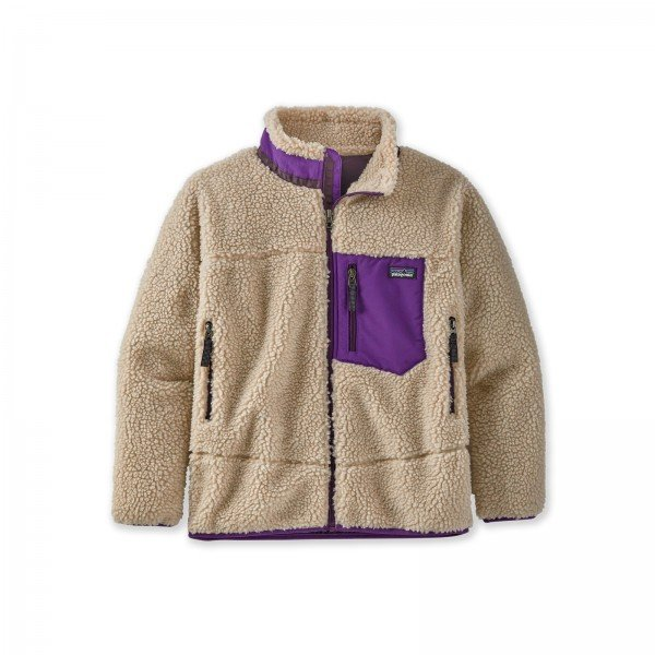 Kids' Patagonia Retro-X Fleece Jacket (Natural w/Purple)