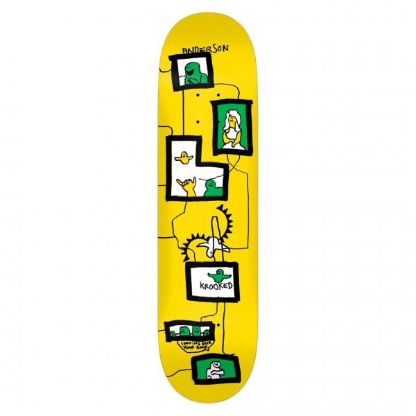 """Krooked Anderson Frames Skateboard Deck 8.38"""" (Yellow)"""
