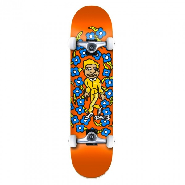"""Krooked Team Sweatpants Mini Complete Skateboard 7.3"""" (Orange)"""