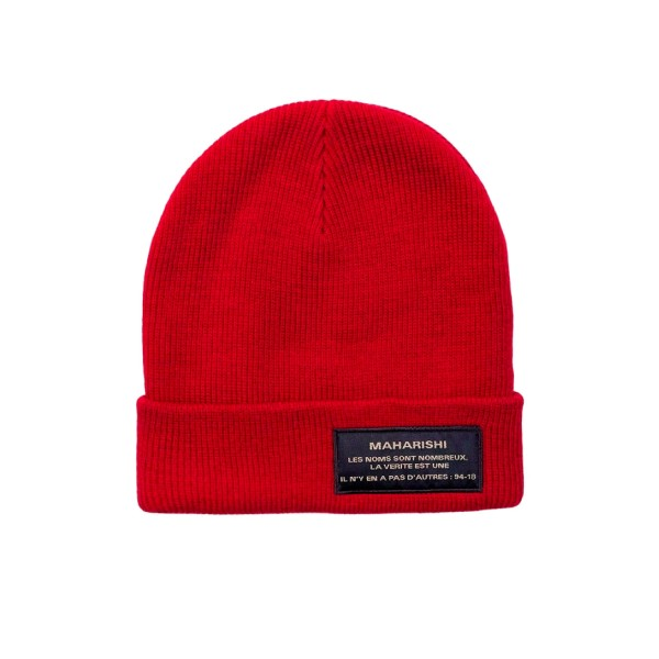 Maharishi Miltype Knitted Beanie (Deep Red)