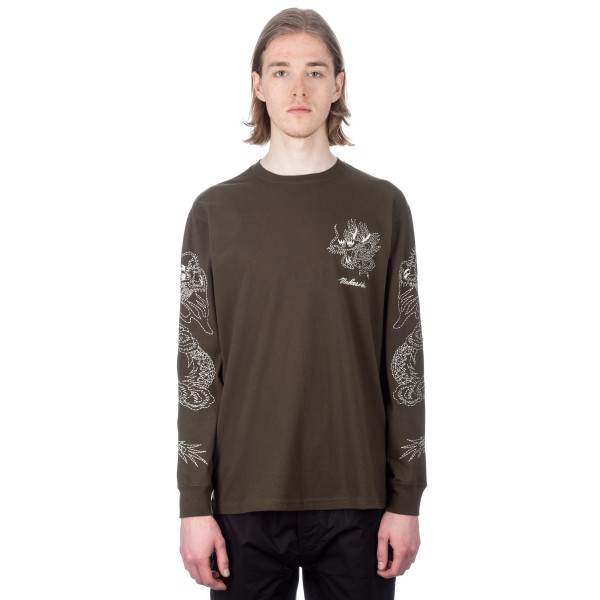Maharishi Stencil Dragon Long Sleeve T-Shirt (Mil Olive)