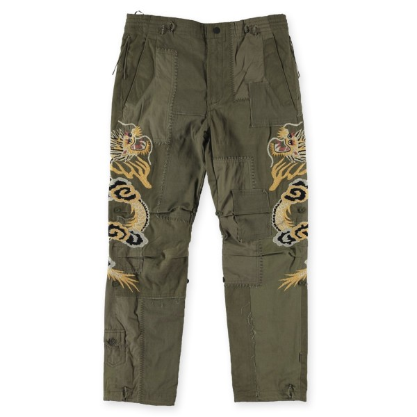 Maharishi Vintage Archive Patchwork Dragon Embroidered Snopant (Olive)