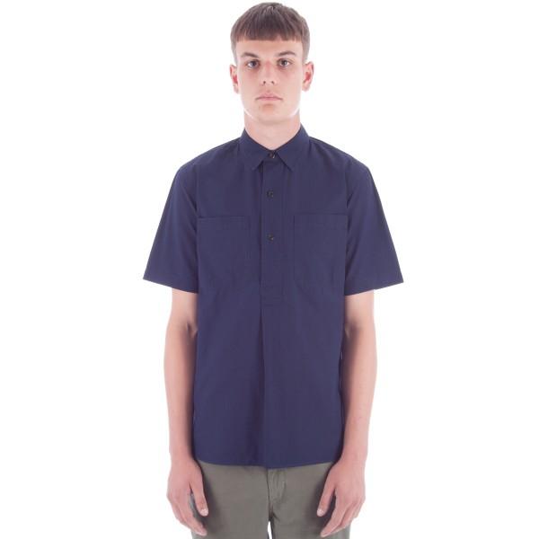 MHL by Margaret Howell Pleat Back Work Shirt (Indigo Poplin)