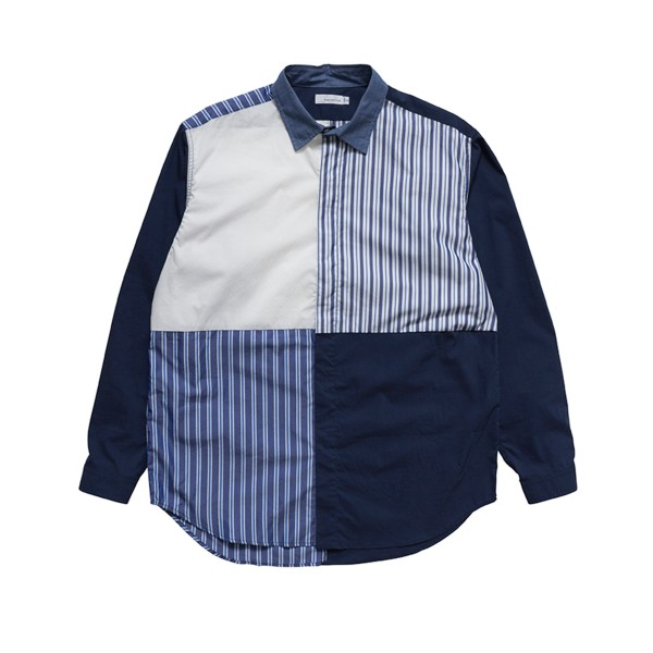 nanamica Crazy Wind Shirt (Navy/White/Blue)