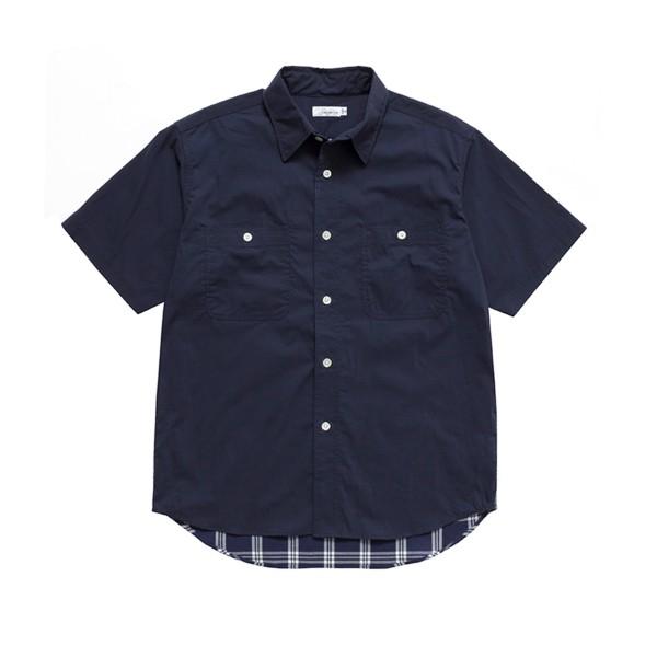 nanamica H/S Check Wind Shirt (Navy)