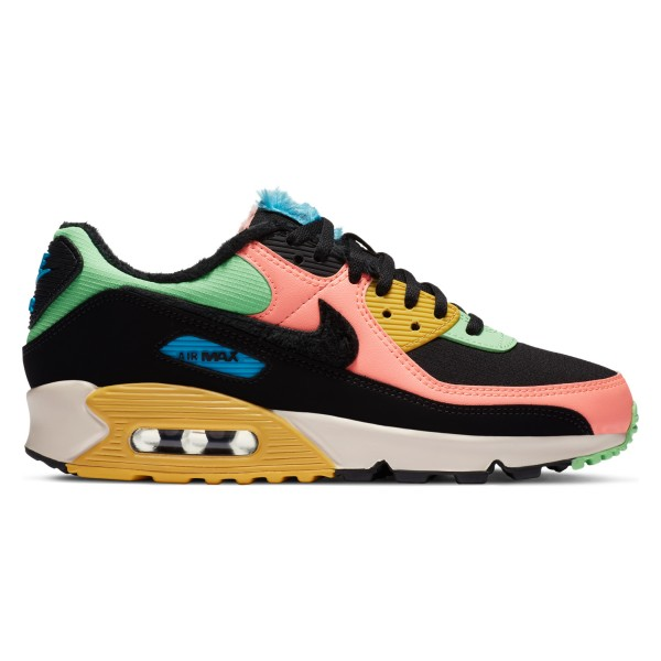 Nike Air Max 90 Premium 'Fur Multi-Colour' (Atomic Pink/Black-Laser Blue-Solar Flare)