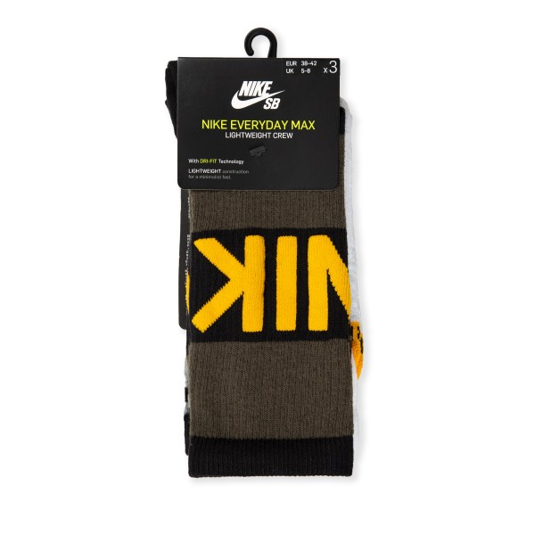 Nike SB Everyday Max Lightweight Crew Socks Triple Pack (Multi-Colour)