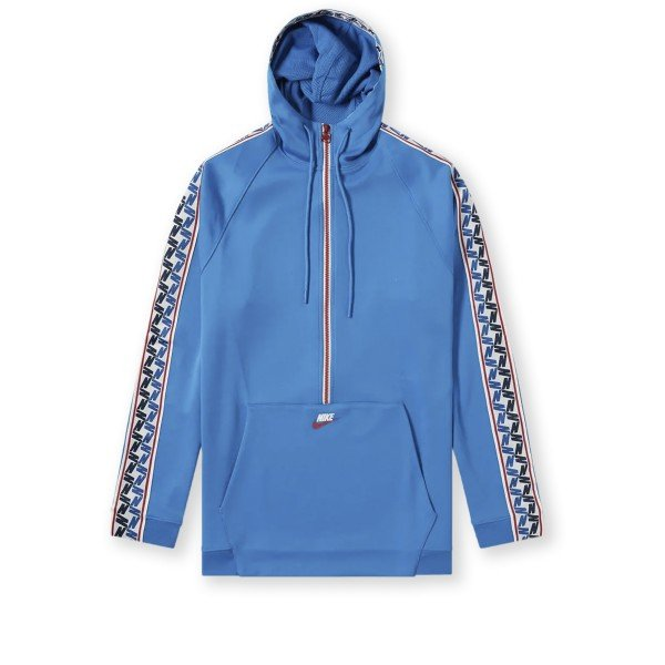 Nike Taped Poly Half Zip Hooded Jacket (Blue Nebula/Gym Red/Sail)