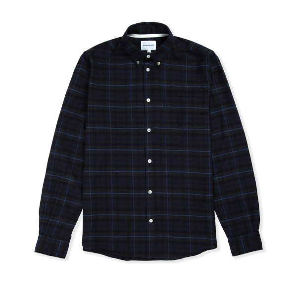 Norse Projects Anton Brushed Flannel Check Shirt (Navy Check)