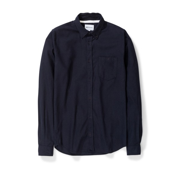 Norse Projects Anton Brushed Flannel Shirt (Dark Navy)