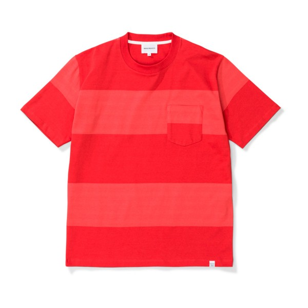 Norse Projects Johannes Block Stripe T-Shirt (Askja Red)
