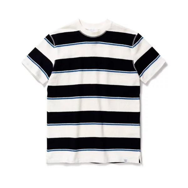 Norse Projects Johannes Textured Stripe T-Shirt (Dark Navy)