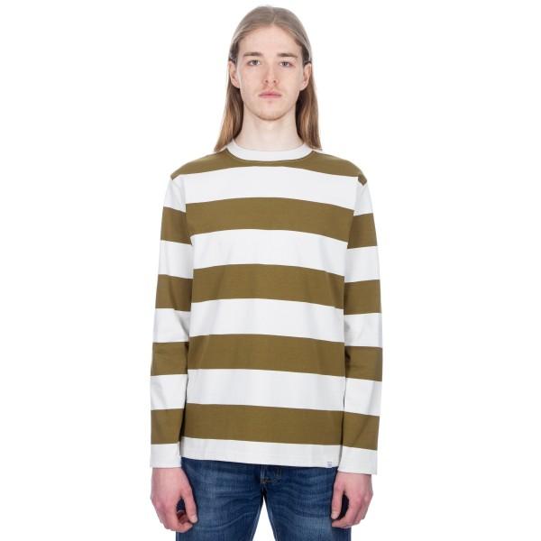 Norse Projects Johannes Wide Stripe Long Sleeve T-Shirt (Warm Brass)