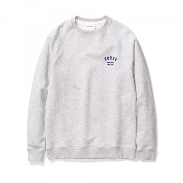Norse Projects Ketel Ivy Wave Logo Crew Neck Sweatshirt (Light Grey Melange)
