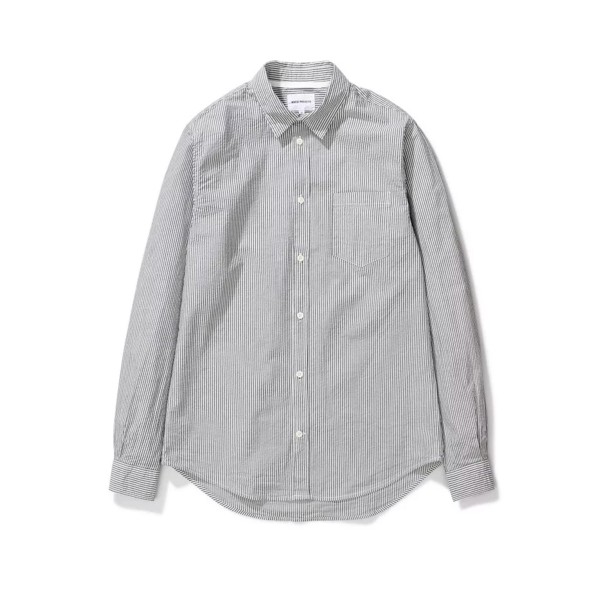 Norse Projects Osvald Seersucker Long Sleeve Shirt (Navy Stripe)
