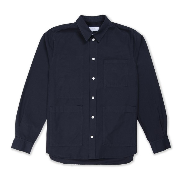 Norse Projects Thorsten Canvas Long Sleeve Shirt (Dark Navy)