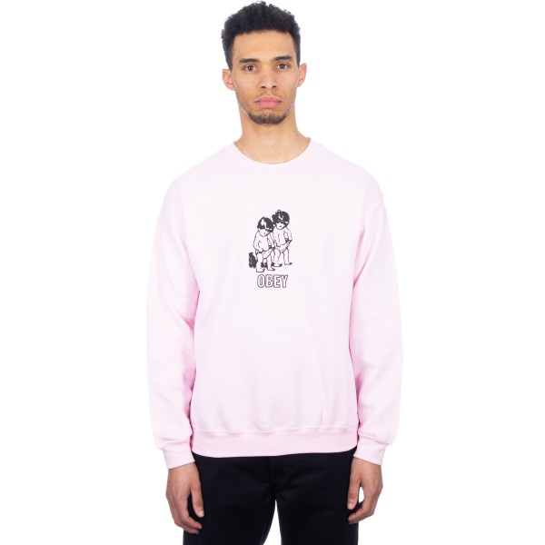 Obey Curious Kiddo's Crew Neck Sweatshirt (Light Pink)