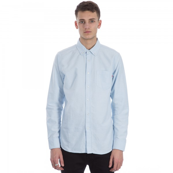 Obey Dissent Trait Woven Long Sleeve Shirt (Light Blue)