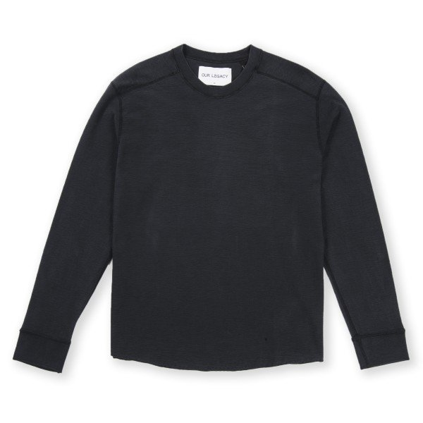 Our Legacy Football Long Sleeve T-Shirt (Black Reversed Weave)