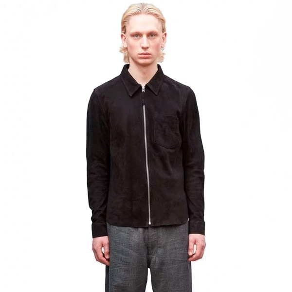 Our Legacy Suede Zip Shirt (Black)