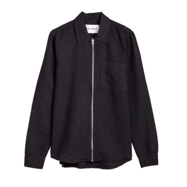 Our Legacy Zip Shirt (Washed Black Linen)