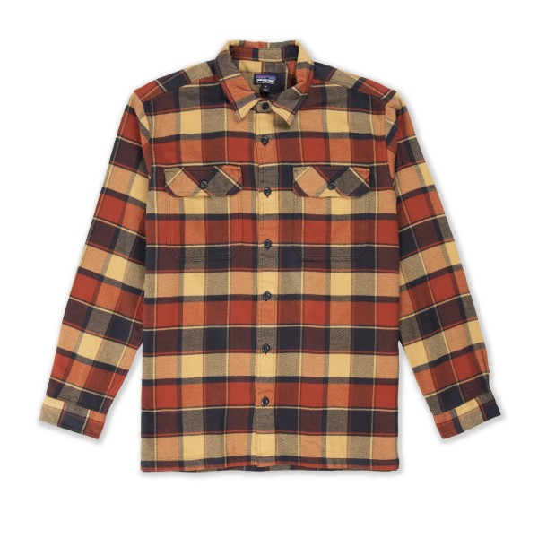 Patagonia Fjord Flannel Long Sleeve Shirt (Plots: Burnished Red)