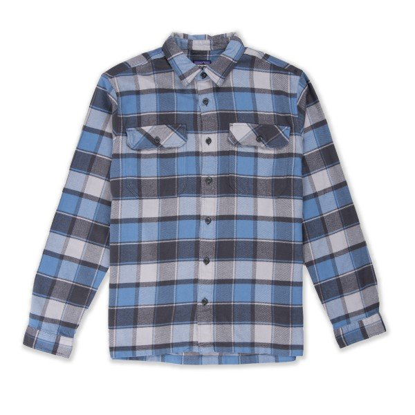 Patagonia Fjord Flannel Long Sleeve Shirt (Plots: Pigeon Blue)