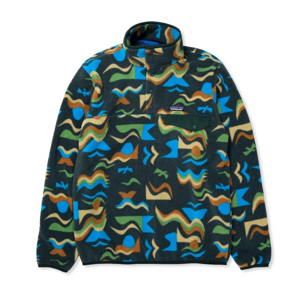 Patagonia Lightweight Synchilla Snap-T Pullover Fleece - European Fit (Arctic Collage: Northern Green)
