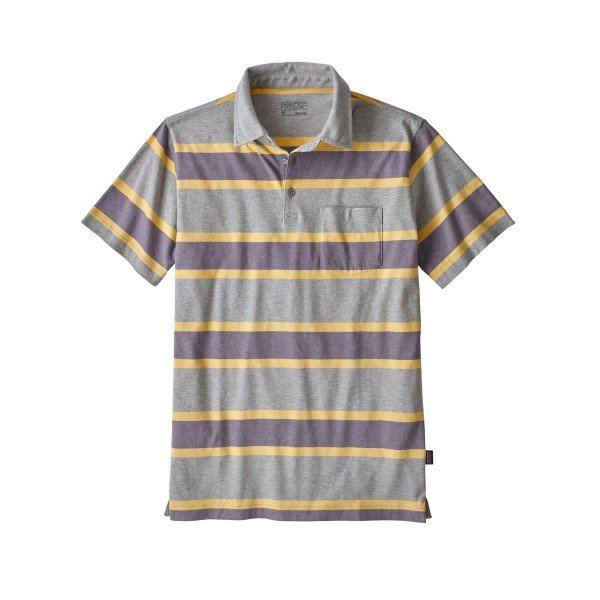 Patagonia Squeaky Clean Polo Shirt (Rugby Stripe: Smokey Violet)