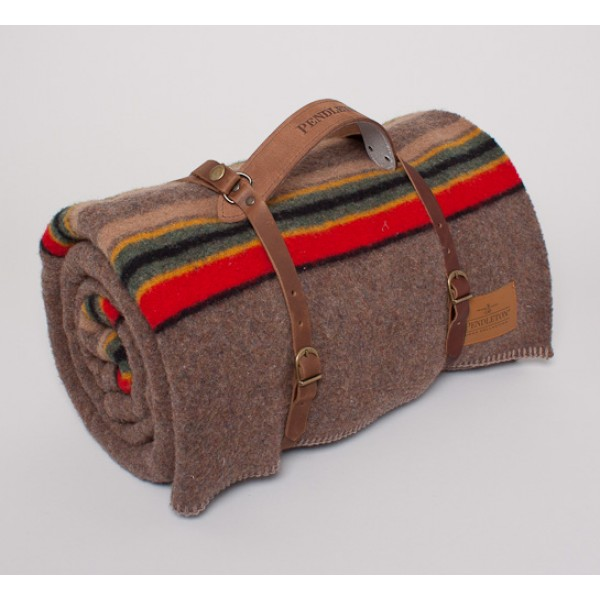 Pendleton Yakima Twin Camp Blanket With Leather Carrier (Mineral Umber)