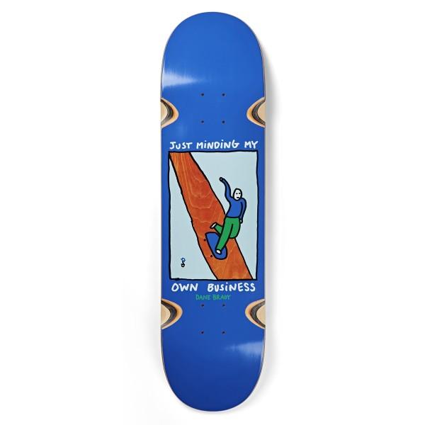 "Polar Skate Co. Dane Brady Just Minding My Own Business Wheel Wells Skateboard Deck 8.25"" (Blue)"