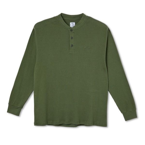 Polar Skate Co. Rib Henley Long Sleeve (Uniform Green)