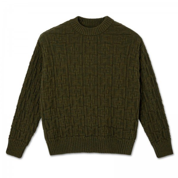 Polar Skate Co. Square Knit Sweater (Army Green)