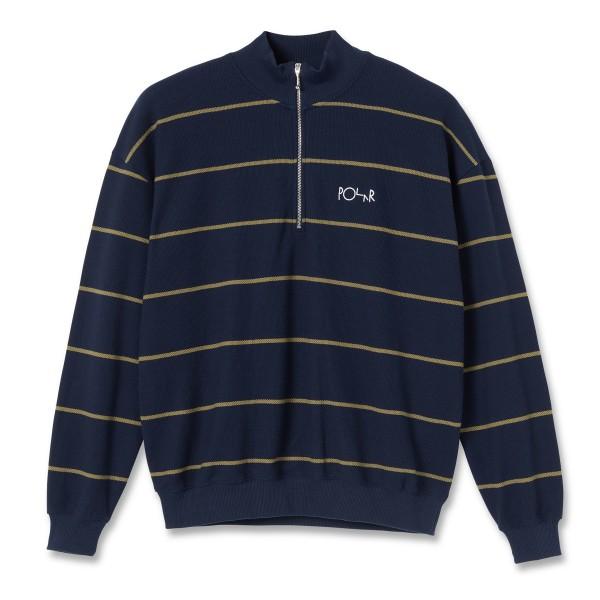 Polar Skate Co. Stripe Zip Neck Sweatshirt (Rich Navy)