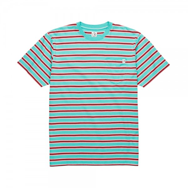 Polar Striped Pocket T-Shirt (Mint/Coral Red)