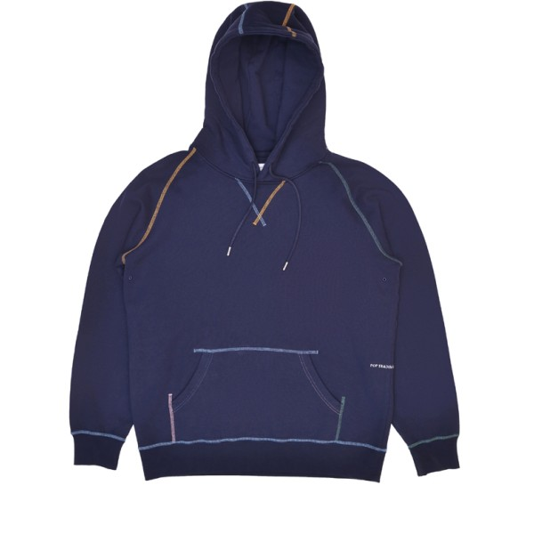 Pop Trading Company Embroidered Logo Pullover Hooded Sweatshirt (Navy/Multi)