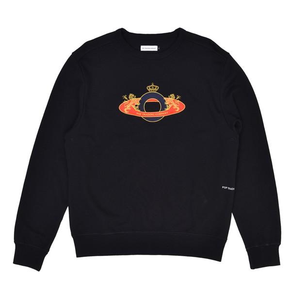 Pop Trading Company Royal O Crew Neck Sweatshirt (Black)