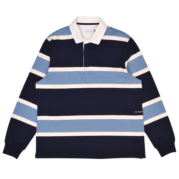 Pop Trading Company Rugby Polo Shirt (Navy/Blue/Off White)