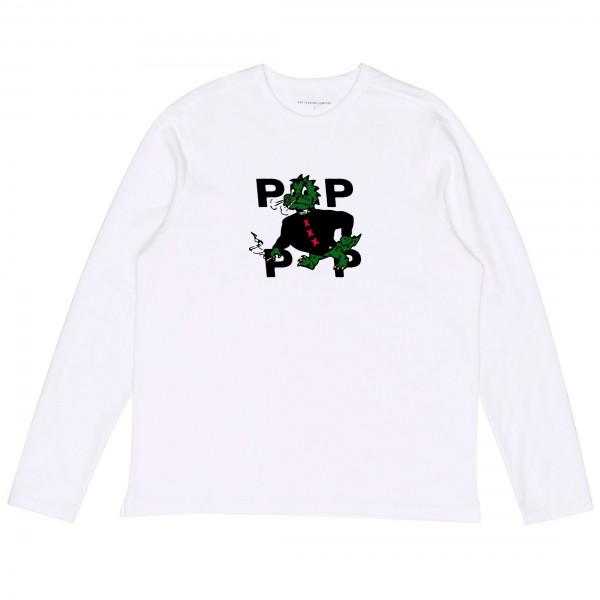 Pop Trading Company Smoking Dragon Long Sleeve T-Shirt (White)