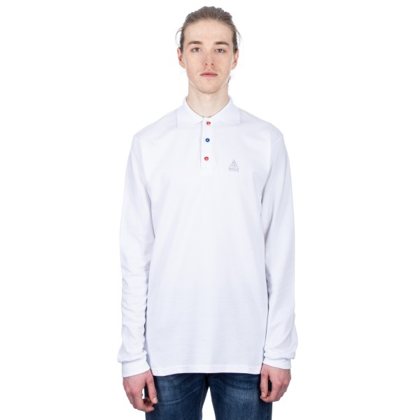 Post Details Shuffleboard Long Sleeve Polo Shirt (White)