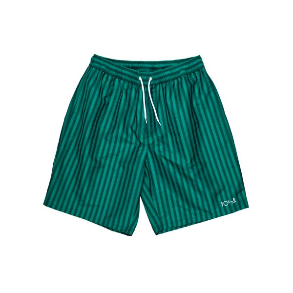 Polar Skate Co. Stripe Swim Shorts (Dark Green)