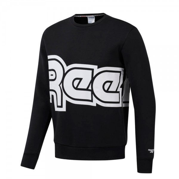 Reebok Classics International Red Button Crew Neck Sweatshirt (Black)