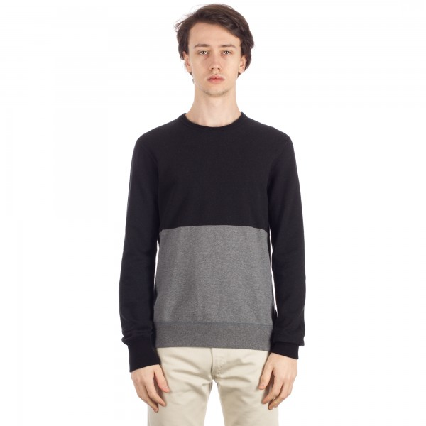 Reigning Champ Engineered Stripe Crew Neck (Black/Heather Charcoal)
