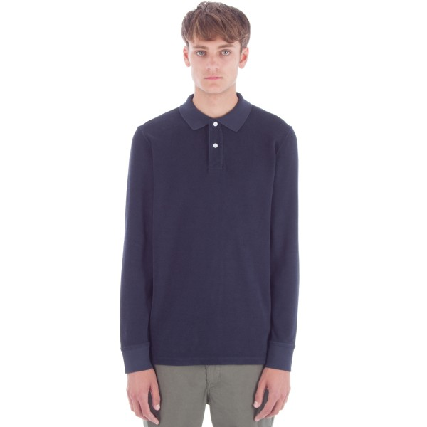 Saturday's Surf NYC Sanders Long Sleeve Terry Polo Shirt (Midnight)