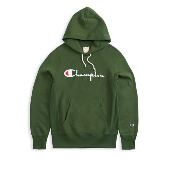 Champion Reverse Weave Script Applique Pullover Hooded Sweatshirt (Forest Green)