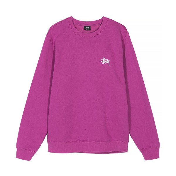 Stussy Basic Crew Neck Sweatshirt (Berry)