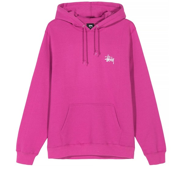 Stussy Basic Pullover Hooded Sweatshirt (Berry)